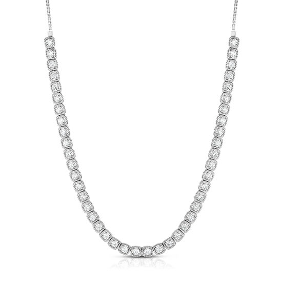 Milgrain Diamond Bolo Necklace 14k White Gold | Marisa Perry