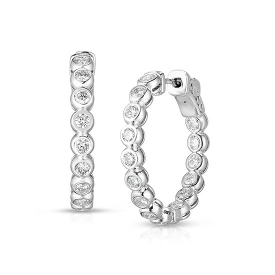 30 Bezel Set Diamond Hoop Earrings 14k White Gold | Marisa Perry