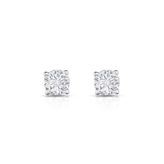 Round Brilliant Cut Diamond 4-Prong Basket Studs 14k White Gold
