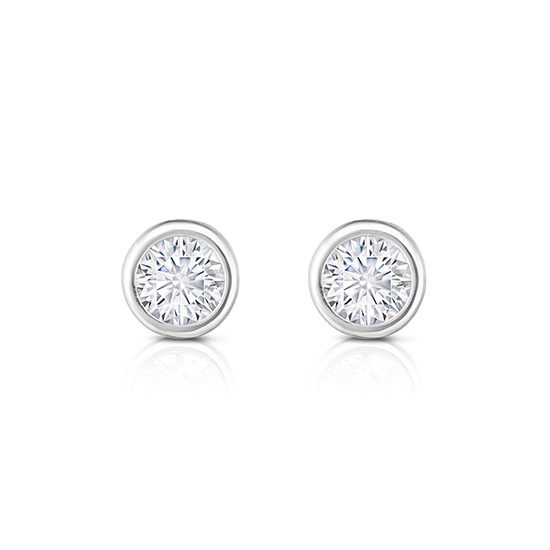 Round Brilliant Cut Diamond Bezel Set Studs 14k White Gold