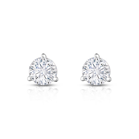Round Brilliant Cut Diamond 3-Prong Martini Studs 14k White Gold