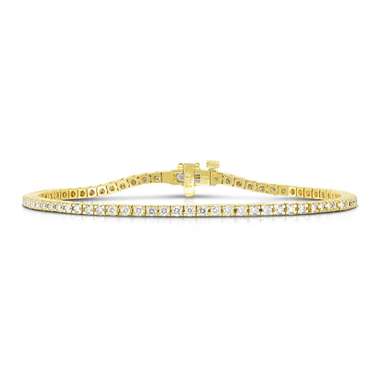 1.98 Total Carat Weight Round Brilliant Cut Diamond Tennis Bracelet 14k Yellow Gold