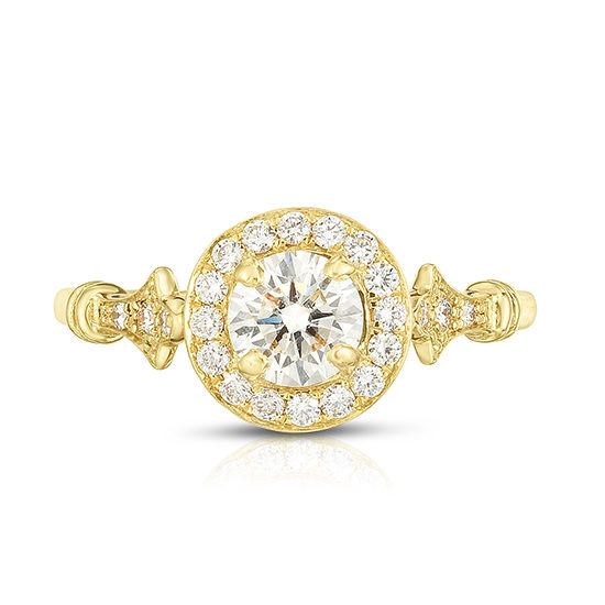 The DE Round Brilliant Vintage Reprise Setting 18k Yellow Gold