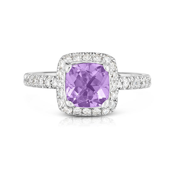 Amethyst InLove setting with diamond micro pave Platinum | Marisa Perry by Douglas Elliott