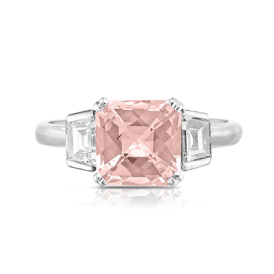 Three carat Radiant cut Morganite and Diamond Three Stone Ring | Marisa Perry by Douglas Elliott