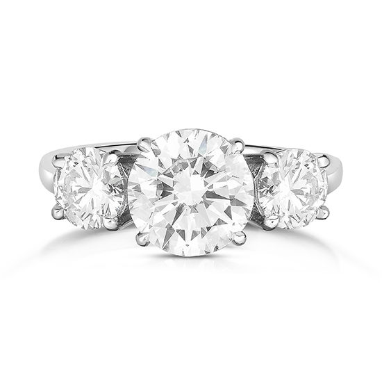 2 Carat Round Brilliant Cut Three Stone Engagement Ring Platinum | Marisa Perry by Douglas Elliott