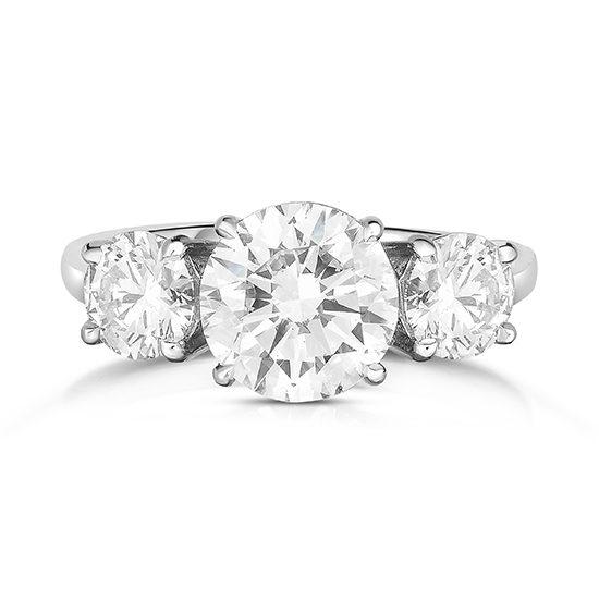 59c71697aea 2 Carat Round Brilliant Cut Three Stone Engagement Ring Platinum ...