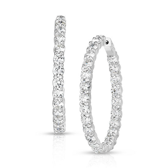 9.35 Carat Round Diamond Hoop Earrings | 14k White Gold