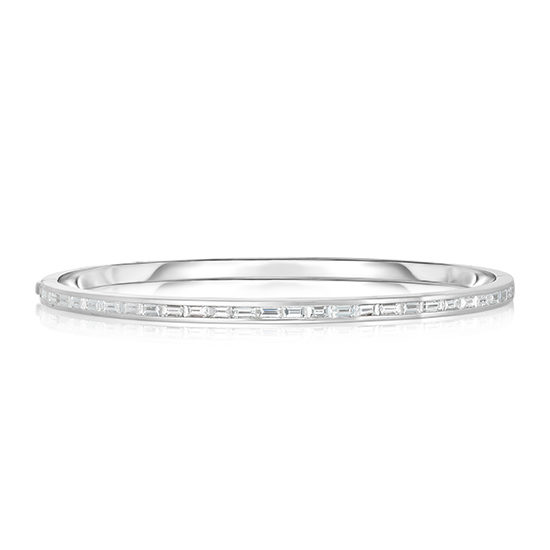 Baguette Diamond Bangle Bracelet 18k White Gold | Marisa Perry