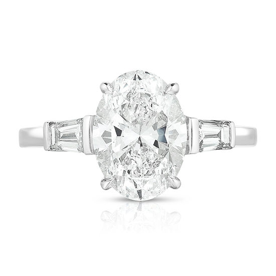 Marisa Perry Three Stone Diamond Engagement Ring - Oval Cut Diamond With Tapered Baguettes