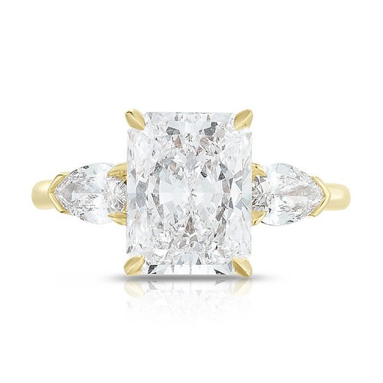 Marisa Perry Three Stone Radiant Cut Diamond Engagement Ring With Pears