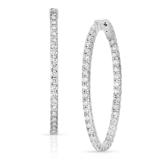 Oval Diamond Hoops | 14k White Gold