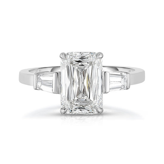 Ashoka with Tapered Baguettes | Three Stone Diamond Engagement Ring | Marisa Perry By Douglas Elliott