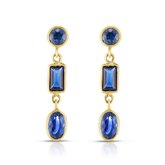 Blue Sapphire Drop Earrings 14k Yellow Gold | Marisa Perry by Douglas Elliott