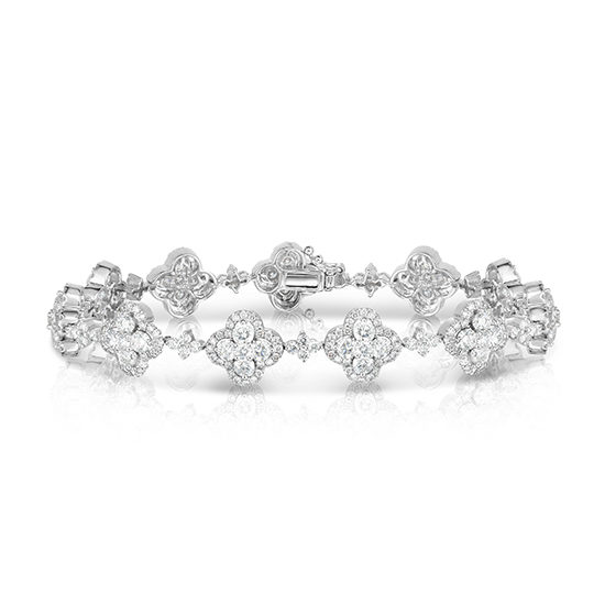 3.71 Carat Diamond Clover Bracelet 18k White Gold | Marisa Perry