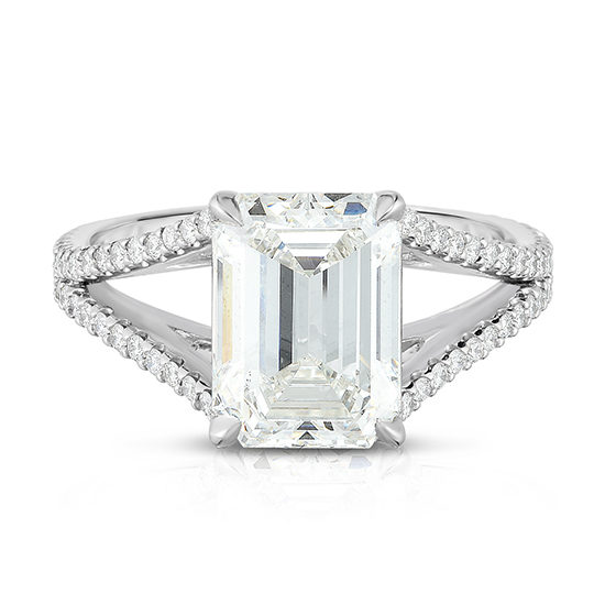Emerald Cut Split Shank Diamond Solitaire Engagement Ring | Marisa Perry by Douglas Elliott