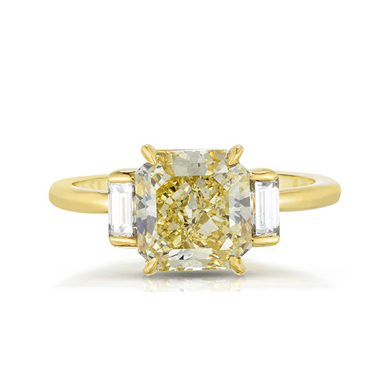 Fancy Yellow Radiant Diamond with Baguettes | Three Stone Diamond Engagement Ring | Marisa Perry By Douglas Elliott