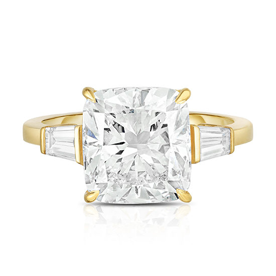 Three Stone Cushion Cut Diamond Engagement Ring With Tapered Baguettes | Marisa Perry by Douglas Elliott