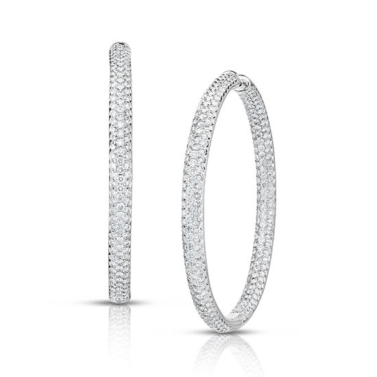 8 Carat Inside Out Micro Pave Diamond Hoop Earrings 14k White Gold