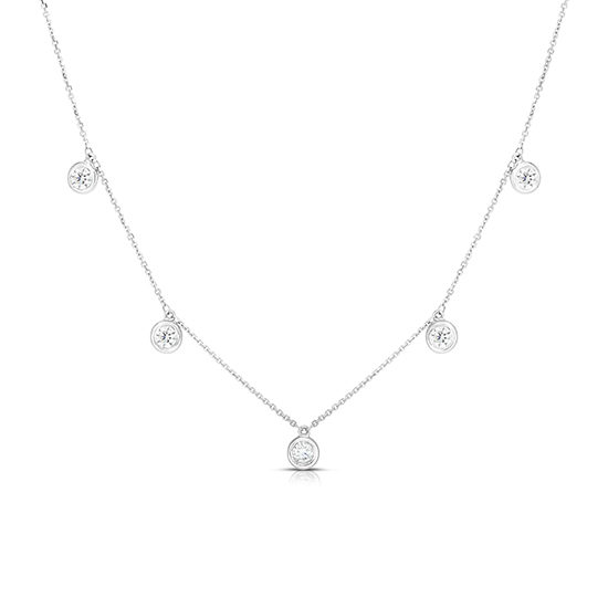 5 Diamond Drop Bezel Necklace 14k White Gold