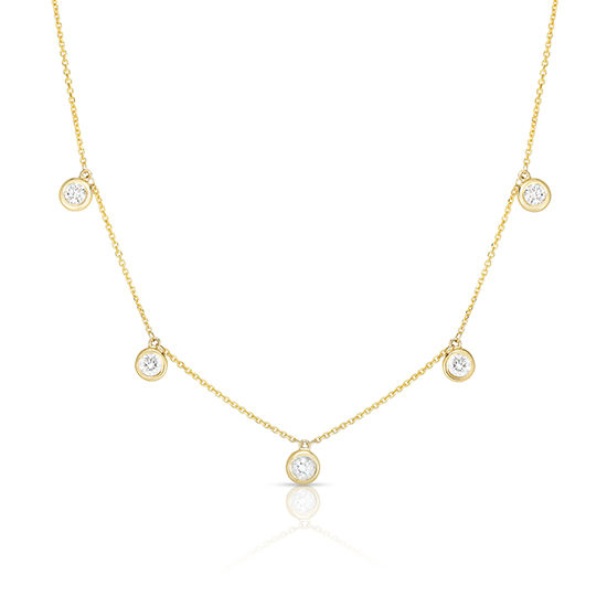 5 Diamond Drop Bezel Necklace 14k Yellow Gold