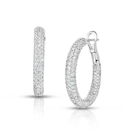 Inside Out Micro Pave Diamond Hoop Earrings 18k White Gold