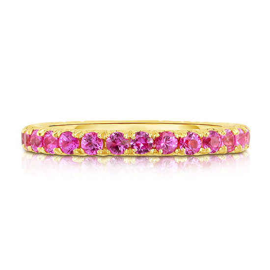 Pink Sapphire Micro Pave Eternity Band 18k Yellow Gold   Marisa Perry By Douglas Elliott