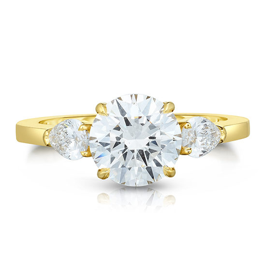 The Round Brilliant Cut Diamond Three Stone With Pears 18k Yellow Gold | Marisa Perry by Douglas Elliott
