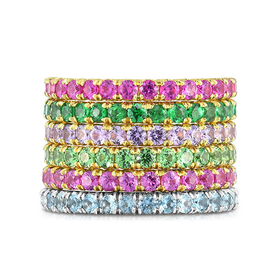 Colored Gemstone Micro Pave Eternity Bands   Spring 2019 New Collection   Marisa Perry by Douglas Elliott