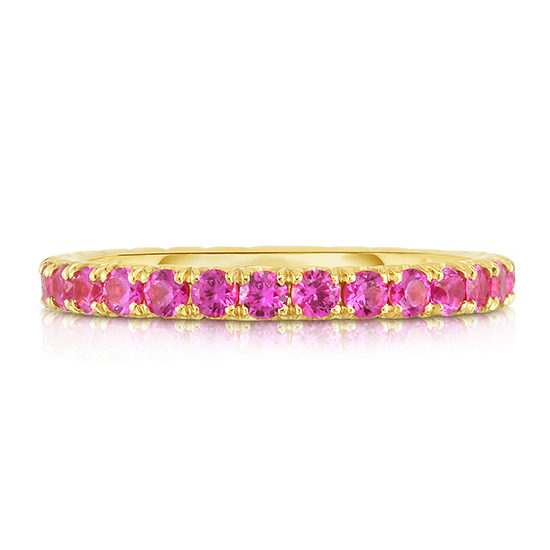 Three Point Pink Sapphire Micro Pave Eternity Band | Marisa Perry By Douglas Elliott
