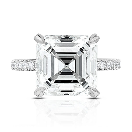 4.02 Carat Asscher Micro Pave Platinum Engagement Ring | The Robin Setting by Douglas Elliott