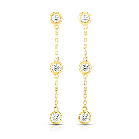 Bezel Set Diamond Drop Earrings | 14k Yellow Gold