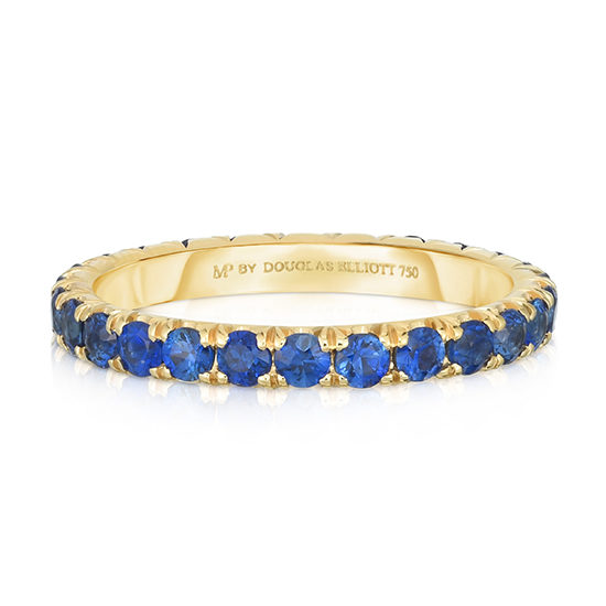 Blue Sapphire Micro Pave Eternity Band 18k Yellow Gold | Marisa Perry By Douglas Elliott