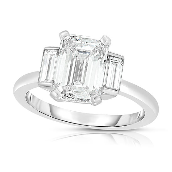 Emerald Cut Diamond Rosie Setting | Three Stone Ring | Marisa Perry By Douglas Elliott