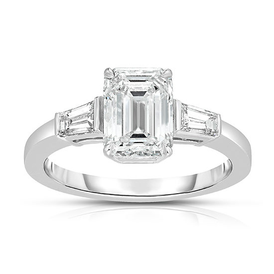 Emerald cut Diamond with Tapered Baguettes   Three Stone Ring   Marisa Perry By Douglas Elliott