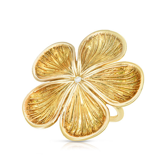 Marisa Perry Diamond Flower Ring   Sterling Silver with 18k Yellow Gold Overlay