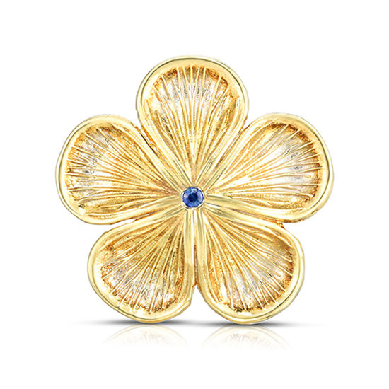 Marisa Perry Sapphire Flower Ring   Sterling Silver with 18k Yellow Gold Overlay