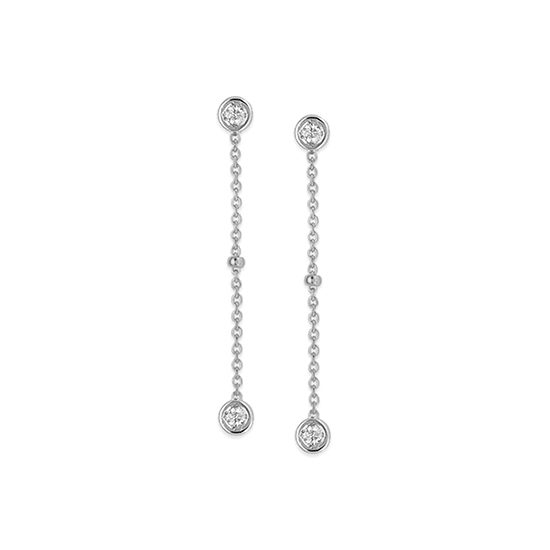 Bezel Set Diamond Dangle Earrings 14k White Gold