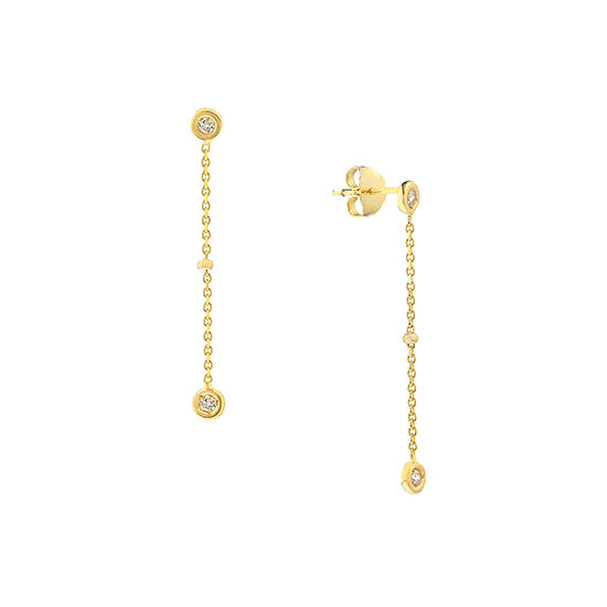 Bezel Set Diamond Dangle Earrings 14k Yellow Gold