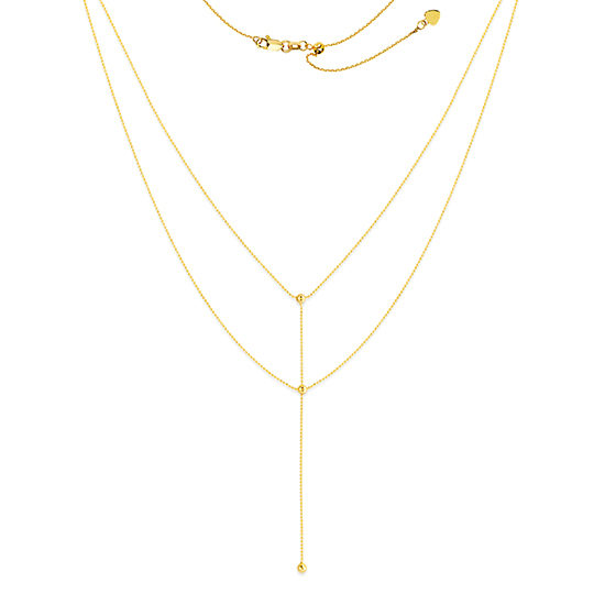 Double Strand Beaded Lariat Choker Necklace 14k yellow gold