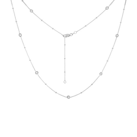 Diamond Bezel Station Adjustable Necklace 14k white gold