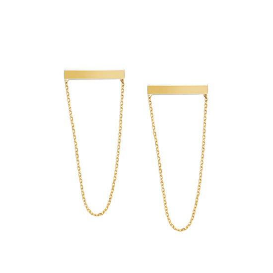 Dangling Chain Staple Earrings 14k Yellow Gold