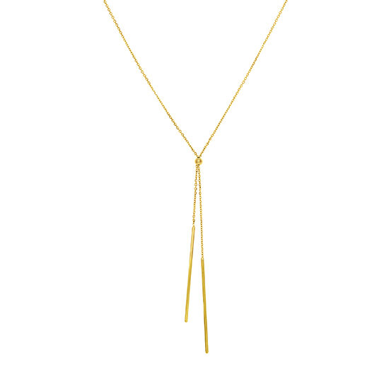Adjustable Lariat Cable Necklace with Dangle Bars 14k Yellow Gold