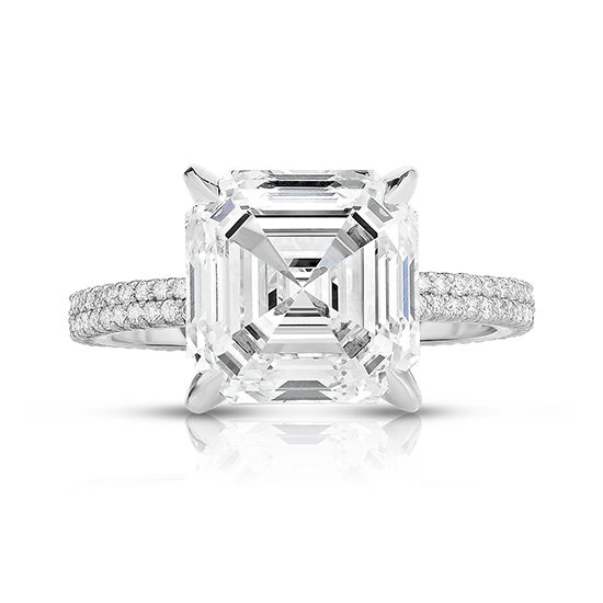 5.02 Carat Double Row Asscher Robin Engagement Ring | Marisa Perry by Douglas Elliott
