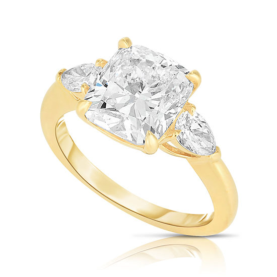 The 3.01 Carat Cushion Cut Diamond Three Stone With Pears | Marisa Perry by Douglas Elliott
