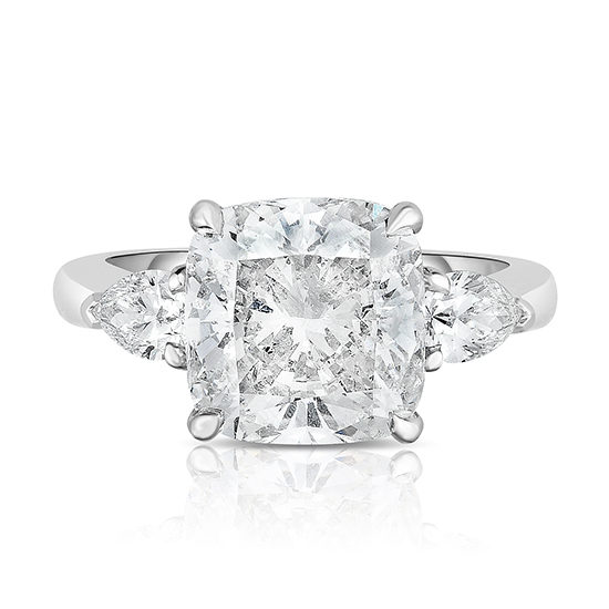 The 4.01 Carat Cushion Cut Diamond Three Stone With Pears | Marisa Perry by Douglas Elliott