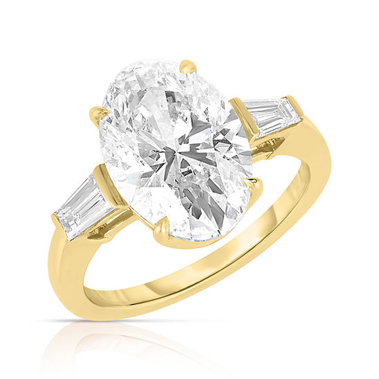The 4.02 Carat Oval Cut Diamond Three Stone With Tapered Baguette | Marisa Perry by Douglas Elliott