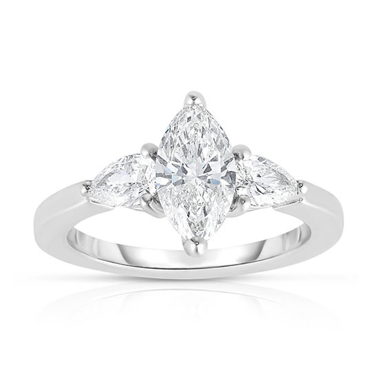 The 1.01 Carat Marquise Cut Diamond Three Stone With Pears | Marisa Perry by Douglas Elliott