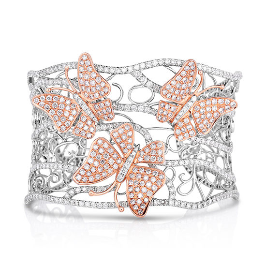 Pink and White Diamond Butterfly Cuff