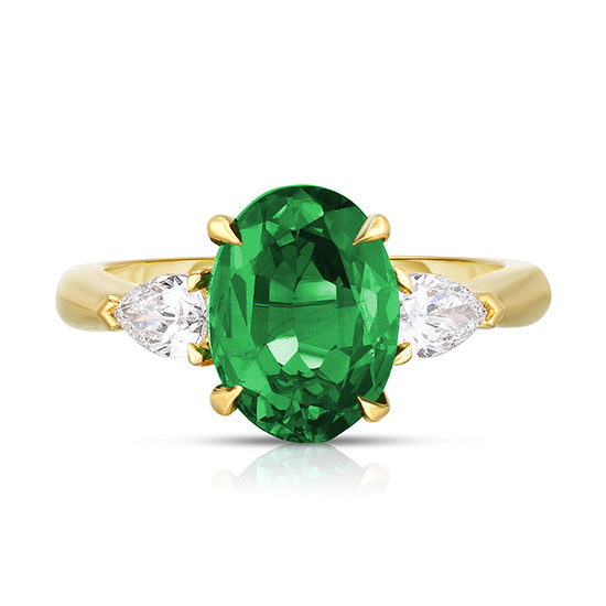 Oval cut Emerald Three Stone Ring with Pear Shape Diamonds | Marisa Perry by Douglas Elliott